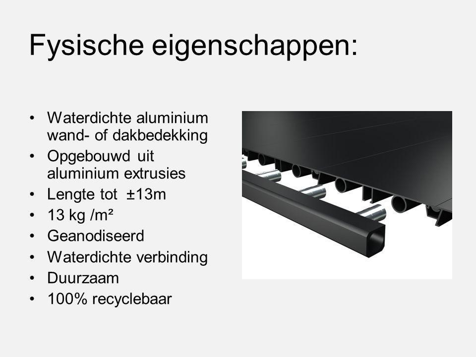 Fysische eigenschappen: Waterdichte aluminium wand- of dakbedekking Opgebouwd uit aluminium extrusies Lengte tot ±13m 13 kg /m² Geanodiseerd Waterdich