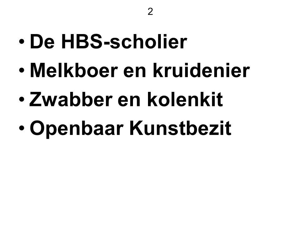 2 De HBS-scholier Melkboer en kruidenier Zwabber en kolenkit Openbaar Kunstbezit