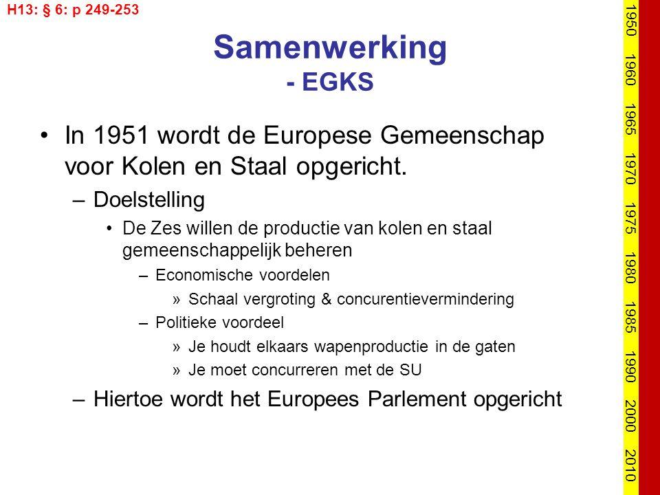 Samenwerking - EGKS In 1951 wordt de Europese Gemeenschap voor Kolen en Staal opgericht. –Doelstelling De Zes willen de productie van kolen en staal g