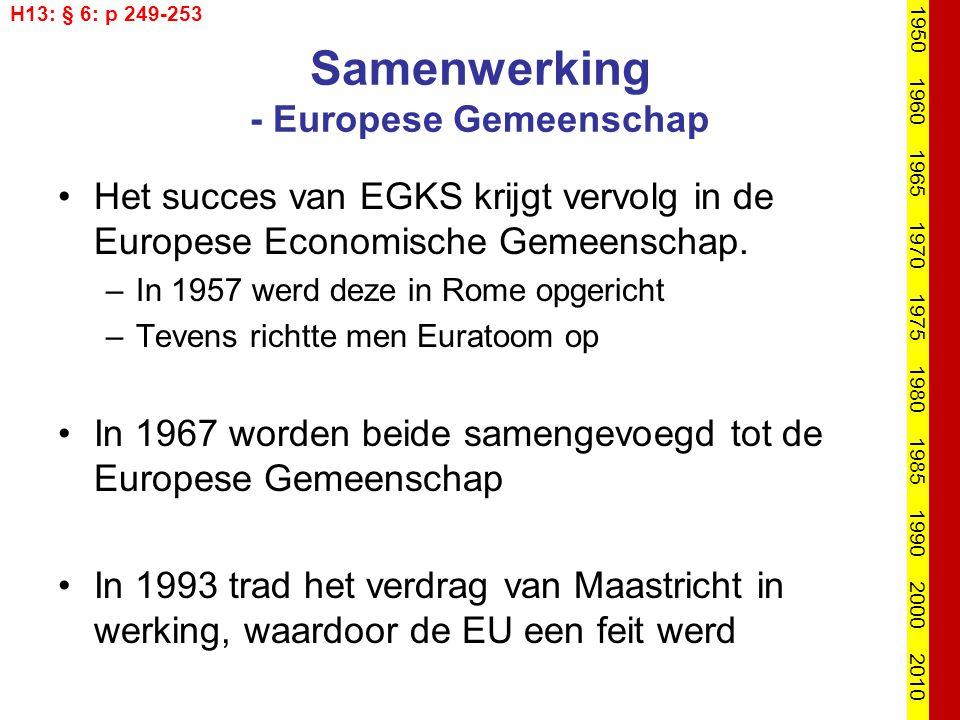 Samenwerking - Europese Gemeenschap Het succes van EGKS krijgt vervolg in de Europese Economische Gemeenschap. –In 1957 werd deze in Rome opgericht –T