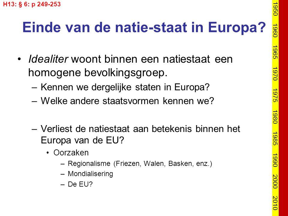 Einde van de natie-staat in Europa? Idealiter woont binnen een natiestaat een homogene bevolkingsgroep. –Kennen we dergelijke staten in Europa? –Welke