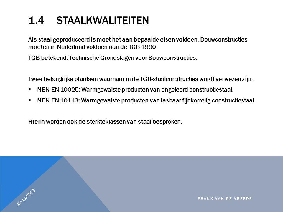 1.4STAALKWALITEITEN Als staal geproduceerd is moet het aan bepaalde eisen voldoen. Bouwconstructies moeten in Nederland voldoen aan de TGB 1990. TGB b