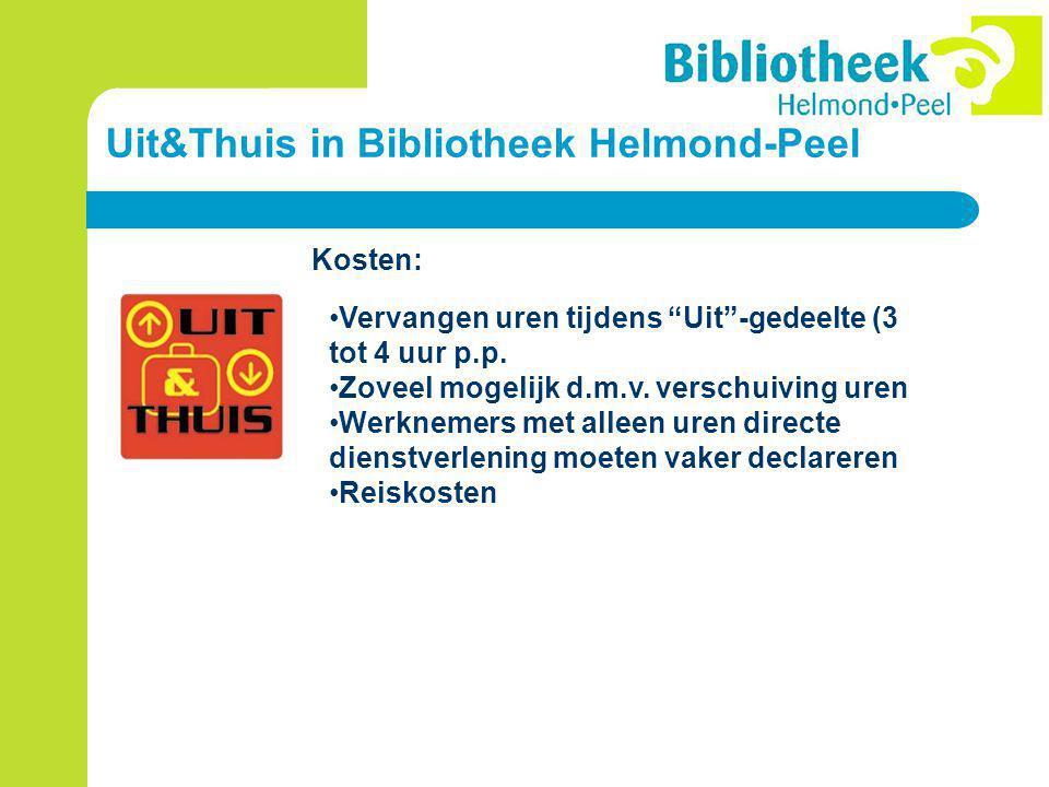 Uit&Thuis in Bibliotheek Helmond-Peel Kosten: Vervangen uren tijdens Uit -gedeelte (3 tot 4 uur p.p.
