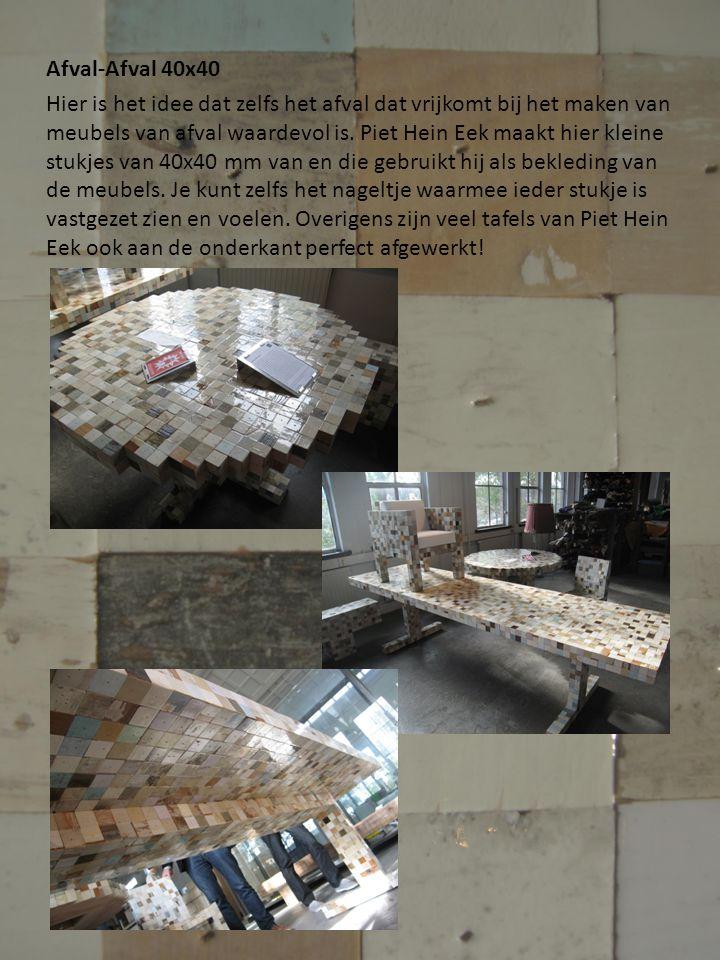 Afval-Afval 40x40 Hier is het idee dat zelfs het afval dat vrijkomt bij het maken van meubels van afval waardevol is.