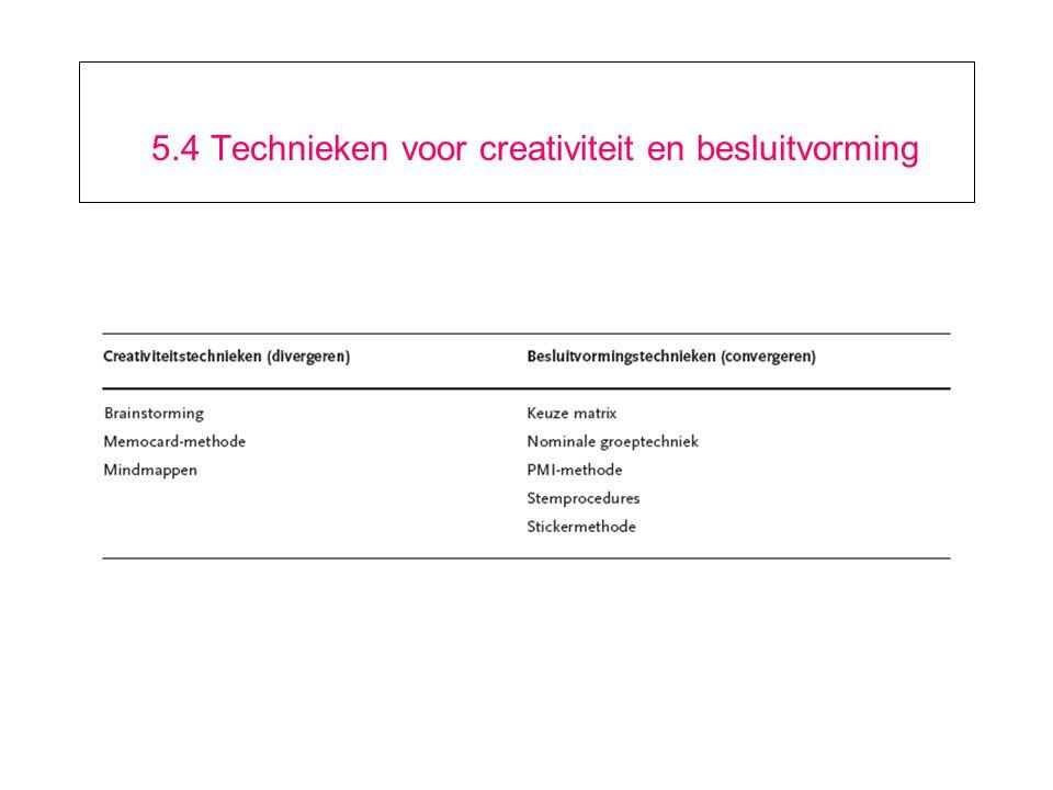 5.4 Technieken voor creativiteit en besluitvorming