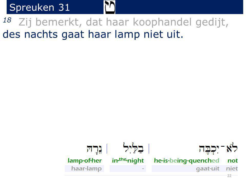 18 Zij bemerkt, dat haar koophandel gedijt, des nachts gaat haar lamp niet uit. Spreuken 31 22