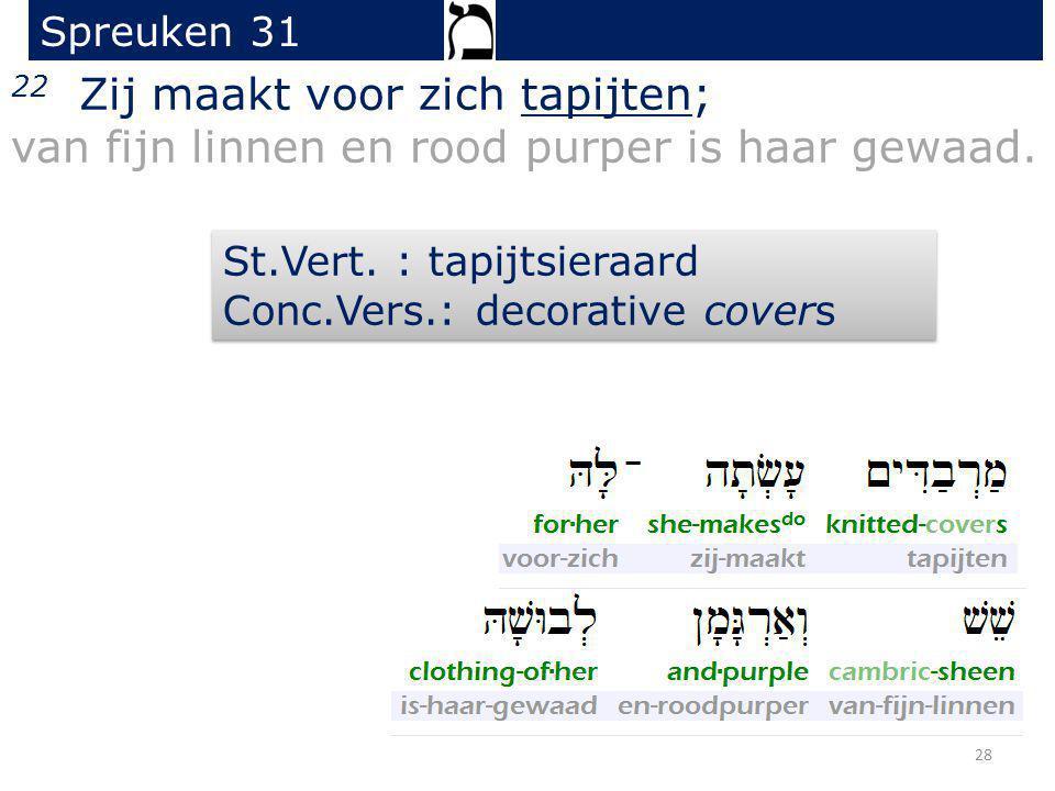 22 Zij maakt voor zich tapijten; van fijn linnen en rood purper is haar gewaad. Spreuken 31 28 St.Vert. : tapijtsieraard Conc.Vers.: decorative covers