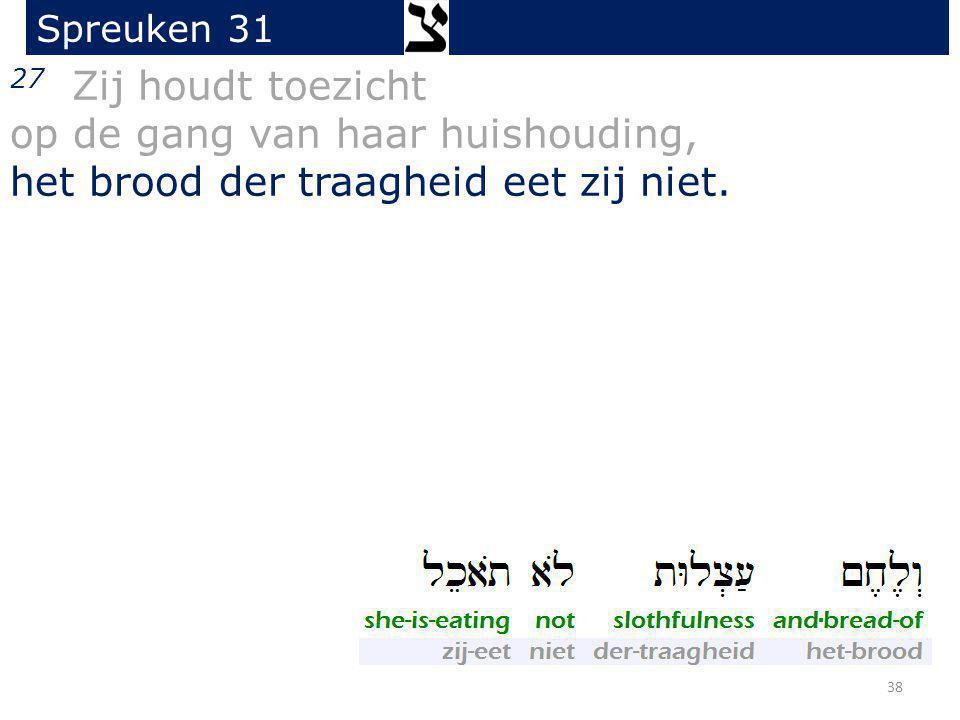 27 Zij houdt toezicht op de gang van haar huishouding, het brood der traagheid eet zij niet. Spreuken 31 38