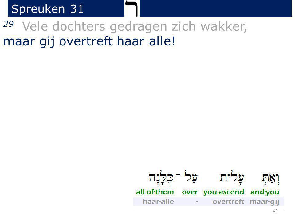 29 Vele dochters gedragen zich wakker, maar gij overtreft haar alle! Spreuken 31 42