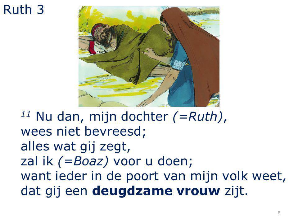 8 11 Nu dan, mijn dochter (=Ruth), wees niet bevreesd; alles wat gij zegt, zal ik (=Boaz) voor u doen; want ieder in de poort van mijn volk weet, dat