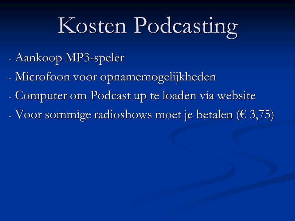 Kosten Podcasting - Aankoop MP3-speler - Microfoon voor opnamemogelijkheden - Computer om Podcast up te loaden via website - Voor sommige radioshows moet je betalen (€ 3,75)