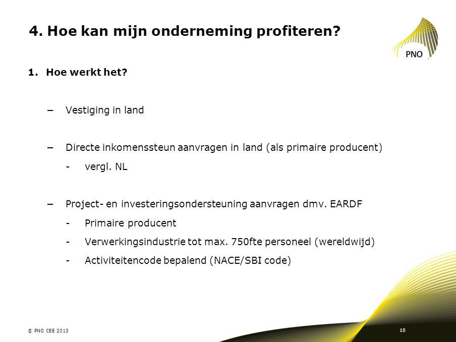 4.Hoe kan mijn onderneming profiteren? 1.Hoe werkt het? −Vestiging in land −Directe inkomenssteun aanvragen in land (als primaire producent) -vergl. N