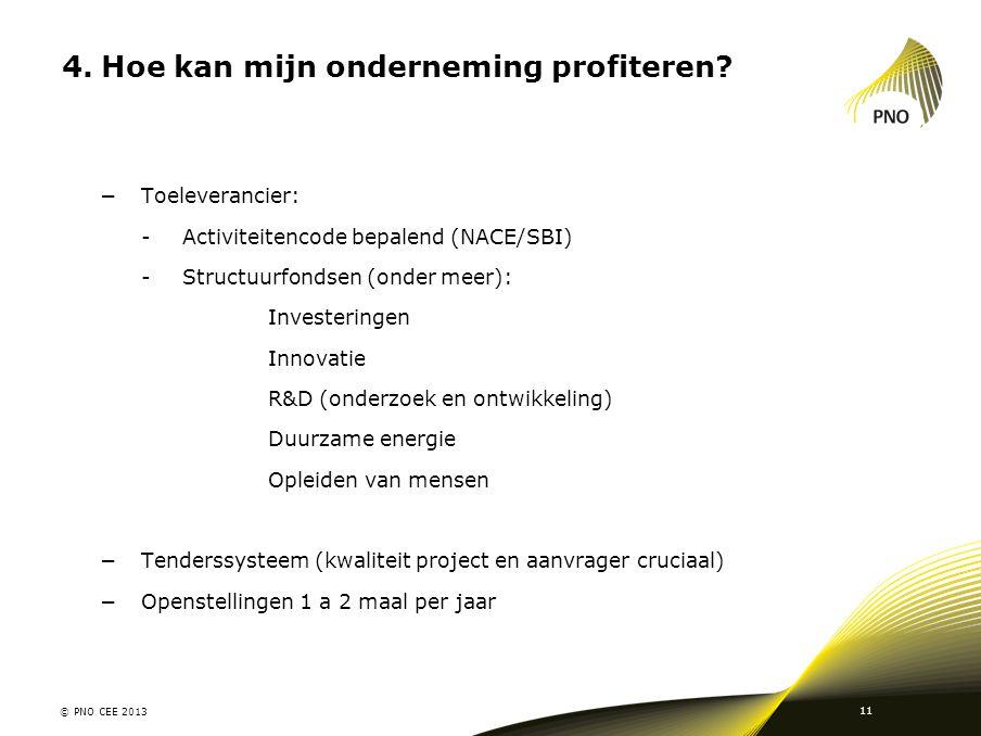 4.Hoe kan mijn onderneming profiteren? −Toeleverancier: -Activiteitencode bepalend (NACE/SBI) -Structuurfondsen (onder meer): Investeringen Innovatie
