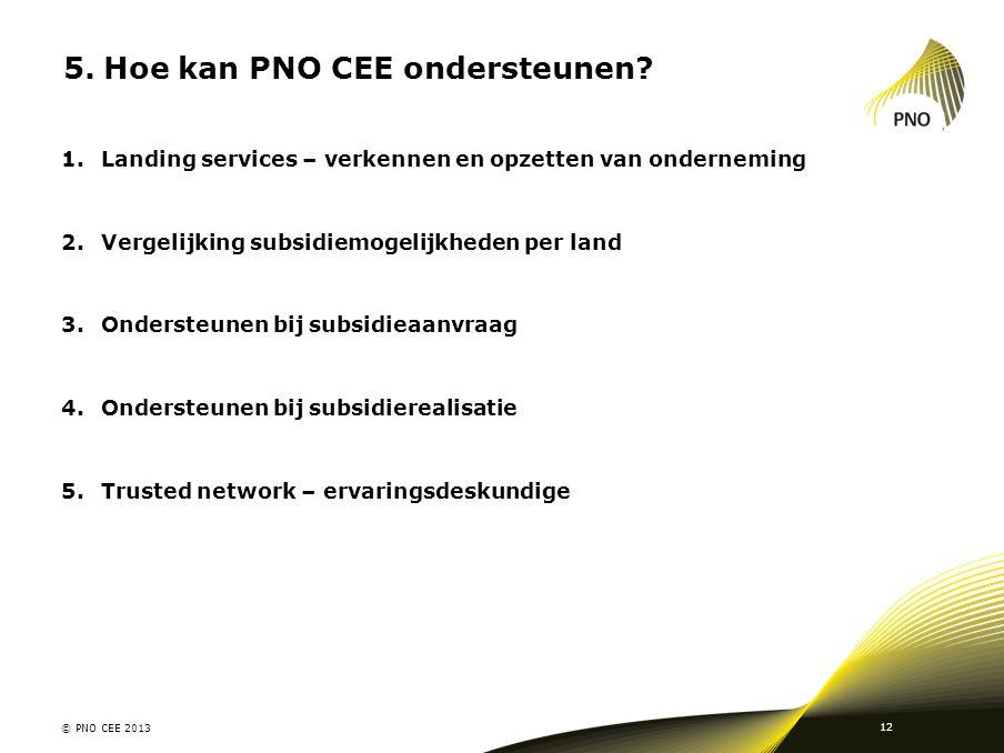 5.Hoe kan PNO CEE ondersteunen? © PNO CEE 2013 12 1.Landing services – verkennen en opzetten van onderneming 2.Vergelijking subsidiemogelijkheden per