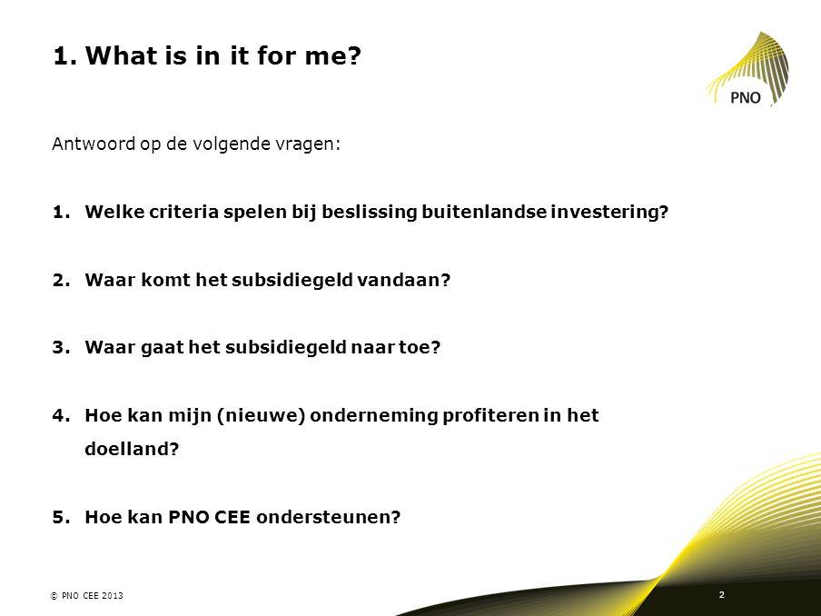 1.What is in it for me? Antwoord op de volgende vragen: 1.Welke criteria spelen bij beslissing buitenlandse investering? 2.Waar komt het subsidiegeld
