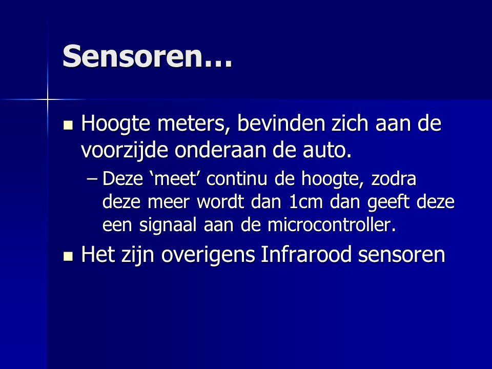Sensoren… Hoogte meters, bevinden zich aan de voorzijde onderaan de auto.