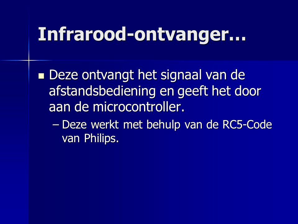 Infrarood-ontvanger… Deze ontvangt het signaal van de afstandsbediening en geeft het door aan de microcontroller.