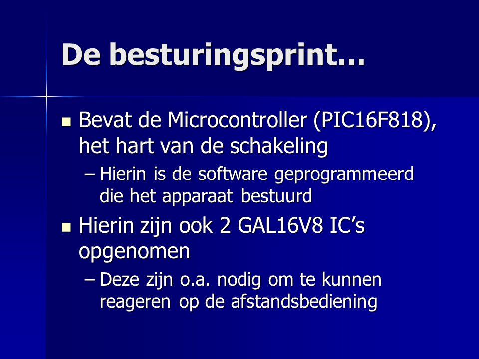 De besturingsprint… Bevat de Microcontroller (PIC16F818), het hart van de schakeling Bevat de Microcontroller (PIC16F818), het hart van de schakeling –Hierin is de software geprogrammeerd die het apparaat bestuurd Hierin zijn ook 2 GAL16V8 IC's opgenomen Hierin zijn ook 2 GAL16V8 IC's opgenomen –Deze zijn o.a.