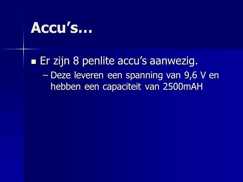 Accu's… Er zijn 8 penlite accu's aanwezig. Er zijn 8 penlite accu's aanwezig.