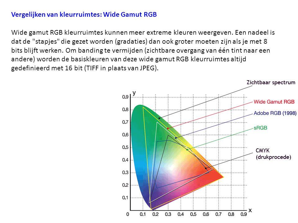 Vergelijken van kleurruimtes: Wide Gamut RGB Wide gamut RGB kleurruimtes kunnen meer extreme kleuren weergeven. Een nadeel is dat de