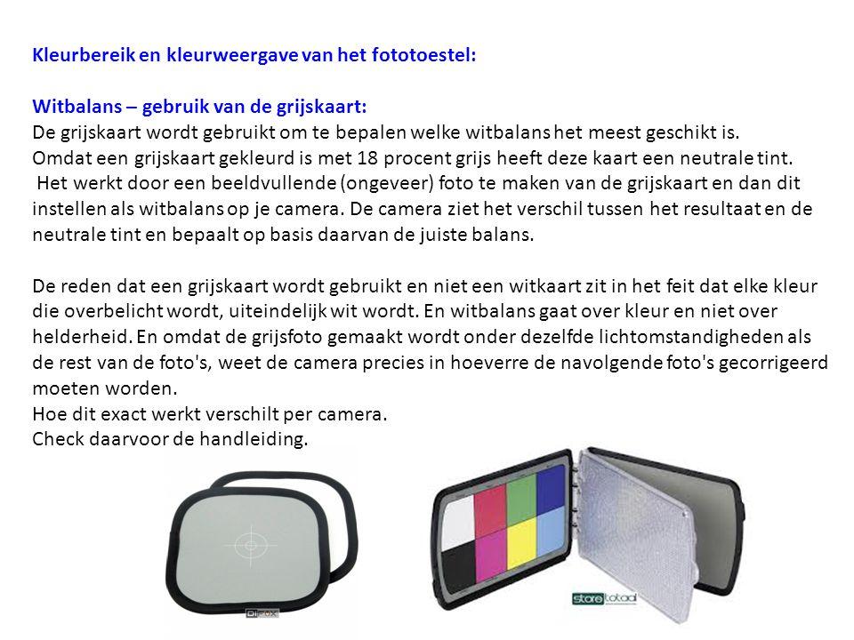Kleurbereik en kleurweergave van het fototoestel: Witbalans – gebruik van de grijskaart: De grijskaart wordt gebruikt om te bepalen welke witbalans he