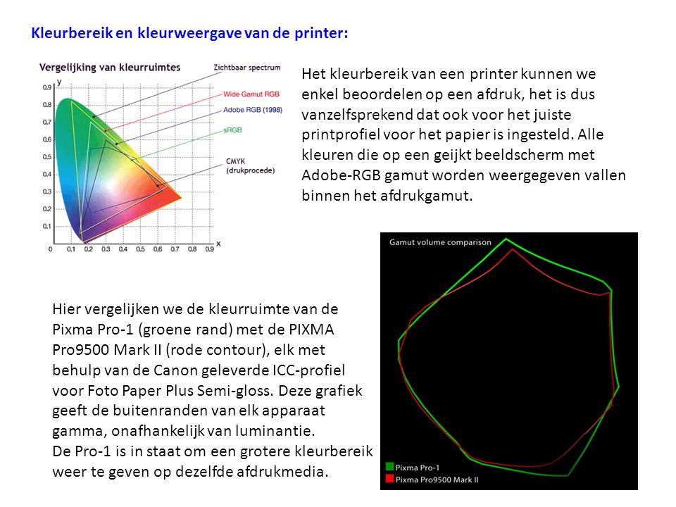 Kleurbereik en kleurweergave van de printer: Het kleurbereik van een printer kunnen we enkel beoordelen op een afdruk, het is dus vanzelfsprekend dat
