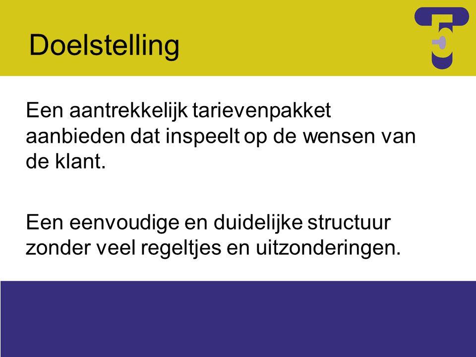 Doelstelling Een aantrekkelijk tarievenpakket aanbieden dat inspeelt op de wensen van de klant. Een eenvoudige en duidelijke structuur zonder veel reg