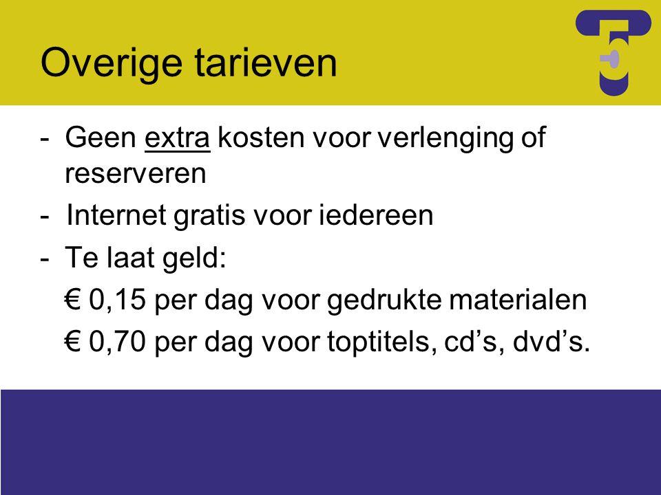 Overige tarieven -Geen extra kosten voor verlenging of reserveren - Internet gratis voor iedereen -Te laat geld: € 0,15 per dag voor gedrukte materialen € 0,70 per dag voor toptitels, cd's, dvd's.