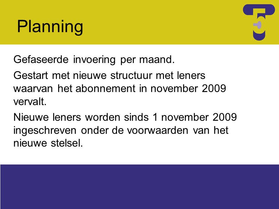 Planning Gefaseerde invoering per maand. Gestart met nieuwe structuur met leners waarvan het abonnement in november 2009 vervalt. Nieuwe leners worden