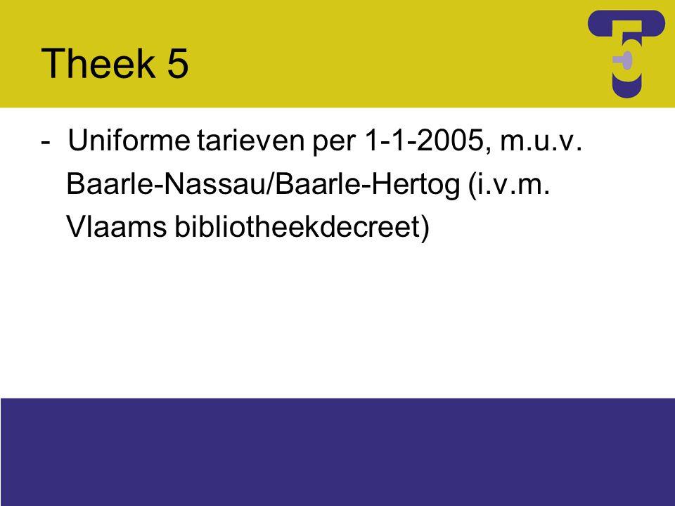- Uniforme tarieven per 1-1-2005, m.u.v. Baarle-Nassau/Baarle-Hertog (i.v.m. Vlaams bibliotheekdecreet)