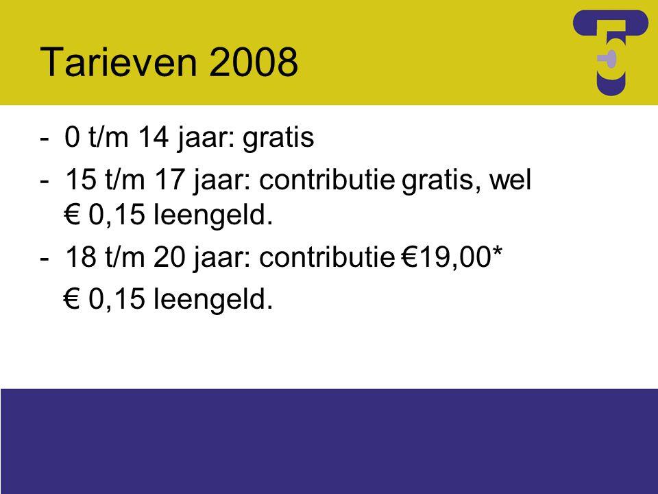 Tarieven 2008 -0 t/m 14 jaar: gratis -15 t/m 17 jaar: contributie gratis, wel € 0,15 leengeld. -18 t/m 20 jaar: contributie €19,00* € 0,15 leengeld.