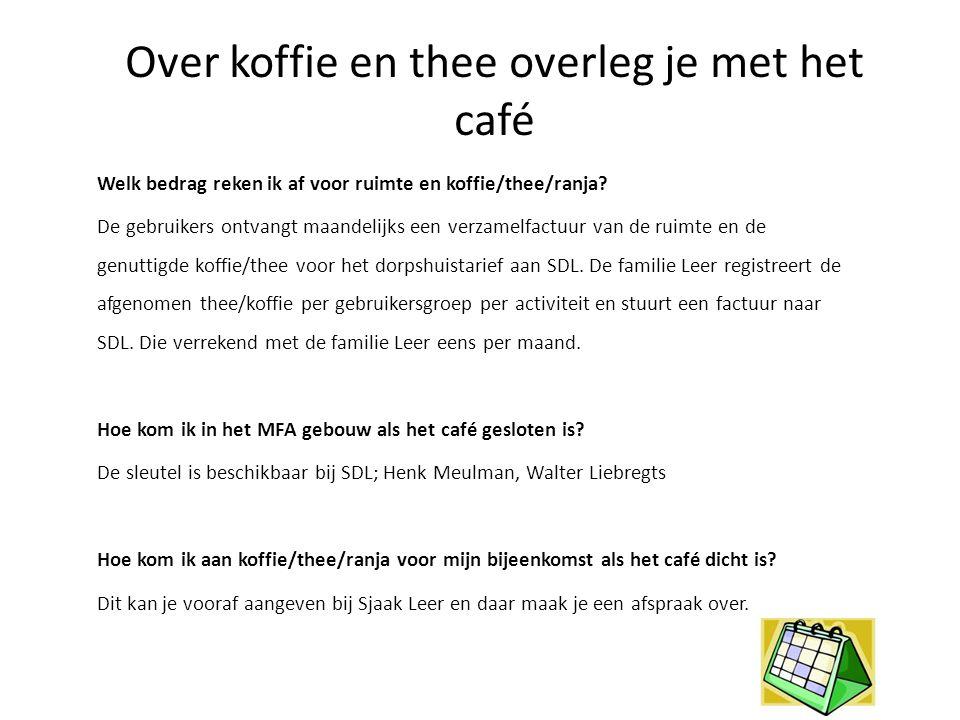Over koffie en thee overleg je met het café Welk bedrag reken ik af voor ruimte en koffie/thee/ranja? De gebruikers ontvangt maandelijks een verzamelf