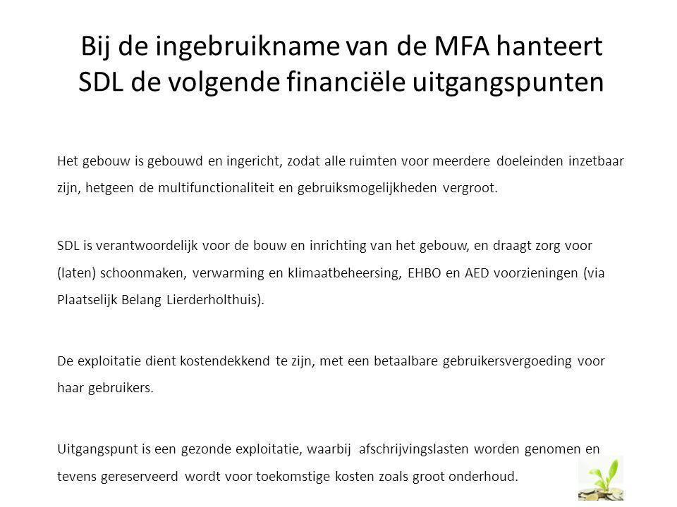 Bij de ingebruikname van de MFA hanteert SDL de volgende financiële uitgangspunten Het gebouw is gebouwd en ingericht, zodat alle ruimten voor meerder