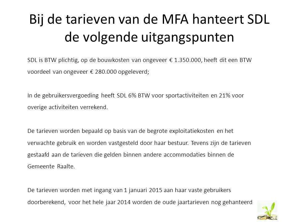 Bij de tarieven van de MFA hanteert SDL de volgende uitgangspunten SDL is BTW plichtig, op de bouwkosten van ongeveer € 1.350.000, heeft dit een BTW v