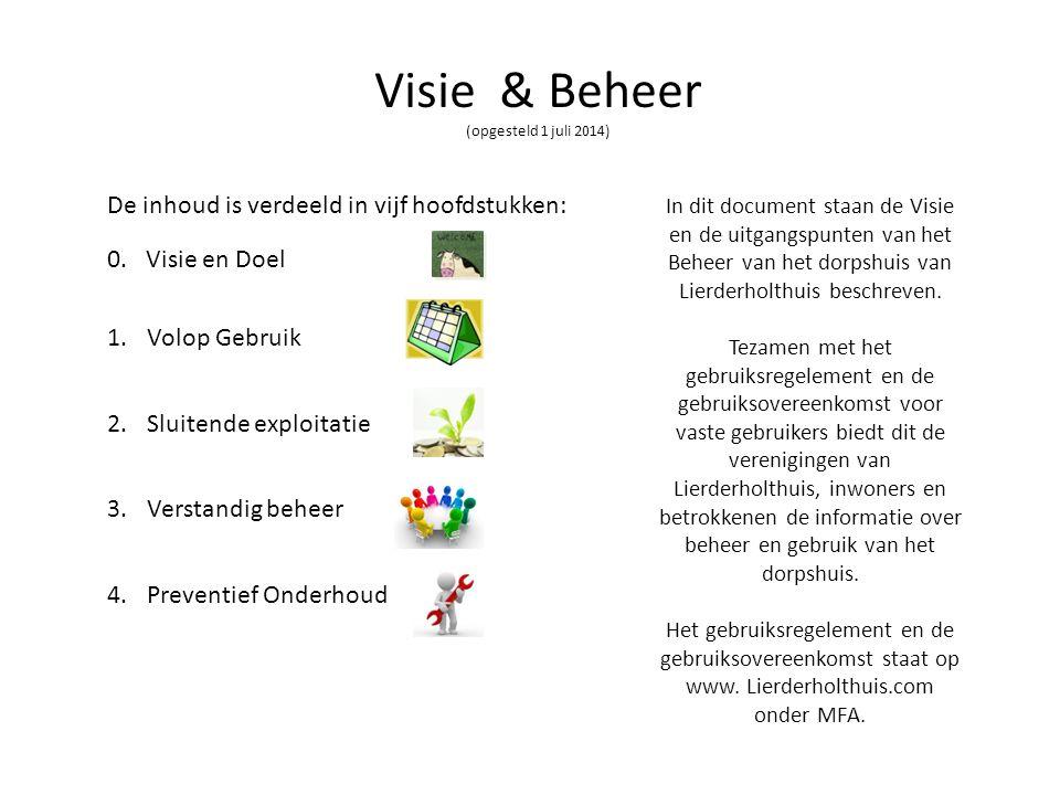 Visie & Beheer (opgesteld 1 juli 2014) De inhoud is verdeeld in vijf hoofdstukken: 0. Visie en Doel 1.Volop Gebruik 2.Sluitende exploitatie 3.Verstand