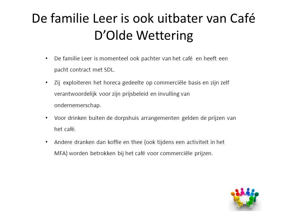 De familie Leer is ook uitbater van Café D'Olde Wettering De familie Leer is momenteel ook pachter van het café en heeft een pacht contract met SDL. Z