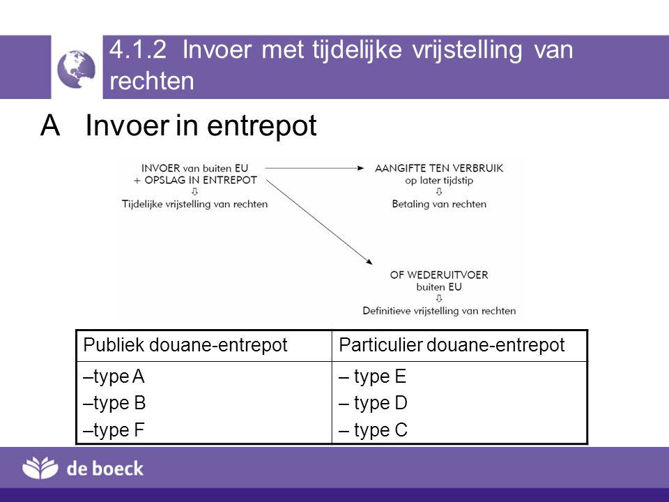 4.1.2 Invoer met tijdelijke vrijstelling van rechten AInvoer in entrepot Publiek douane-entrepotParticulier douane-entrepot –type A –type B –type F –
