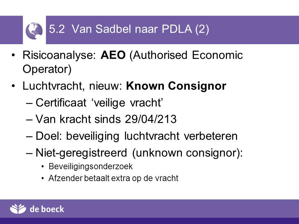 5.2 Van Sadbel naar PDLA (2) Risicoanalyse: AEO (Authorised Economic Operator) Luchtvracht, nieuw: Known Consignor –Certificaat 'veilige vracht' –Van