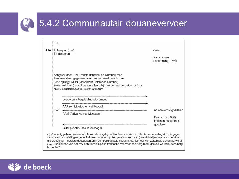 5.4.2 Communautair douanevervoer