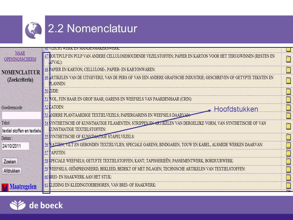 2.2 Nomenclatuur Hoofdstukken