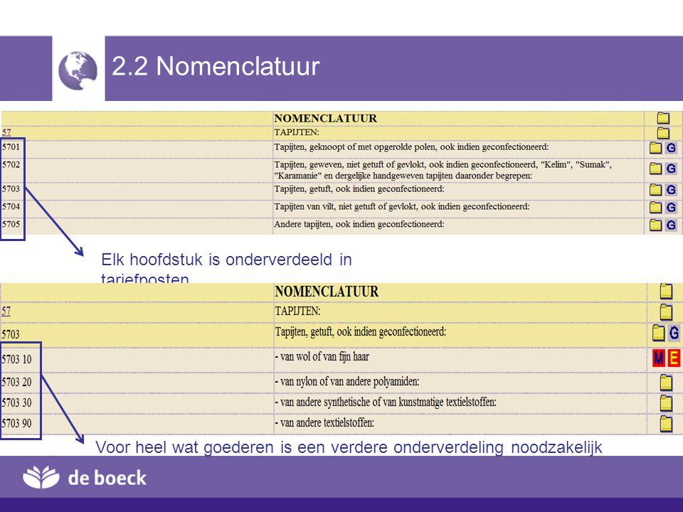 2.2 Nomenclatuur Elk hoofdstuk is onderverdeeld in tariefposten Voor heel wat goederen is een verdere onderverdeling noodzakelijk