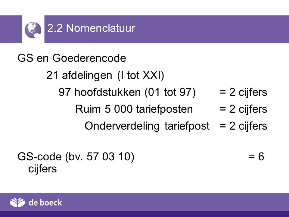 2.2 Nomenclatuur GS en Goederencode 21 afdelingen (I tot XXI) 97 hoofdstukken (01 tot 97) = 2 cijfers Ruim 5 000 tariefposten = 2 cijfers Onderverdeli