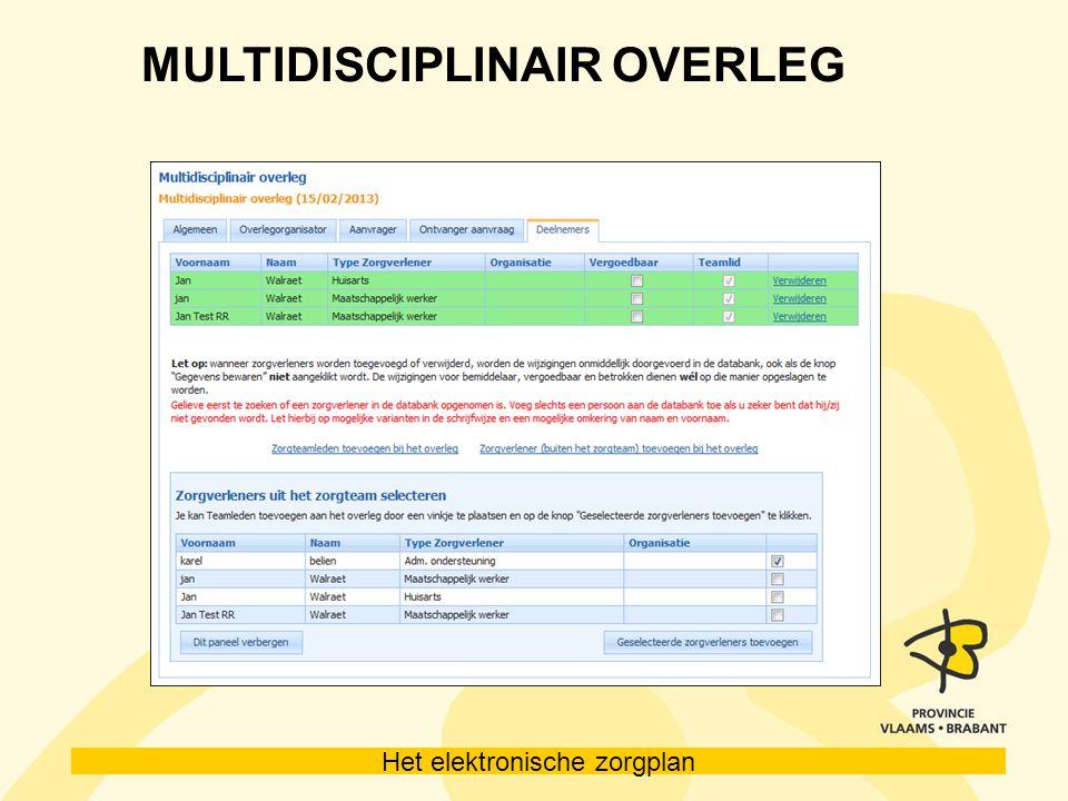 Het elektronische zorgplan MULTIDISCIPLINAIR OVERLEG