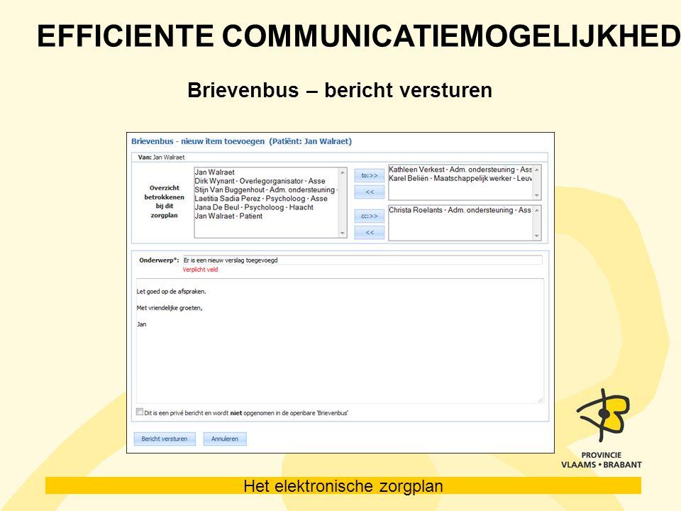 Het elektronische zorgplan EFFICIENTE COMMUNICATIEMOGELIJKHEDEN Brievenbus – bericht versturen