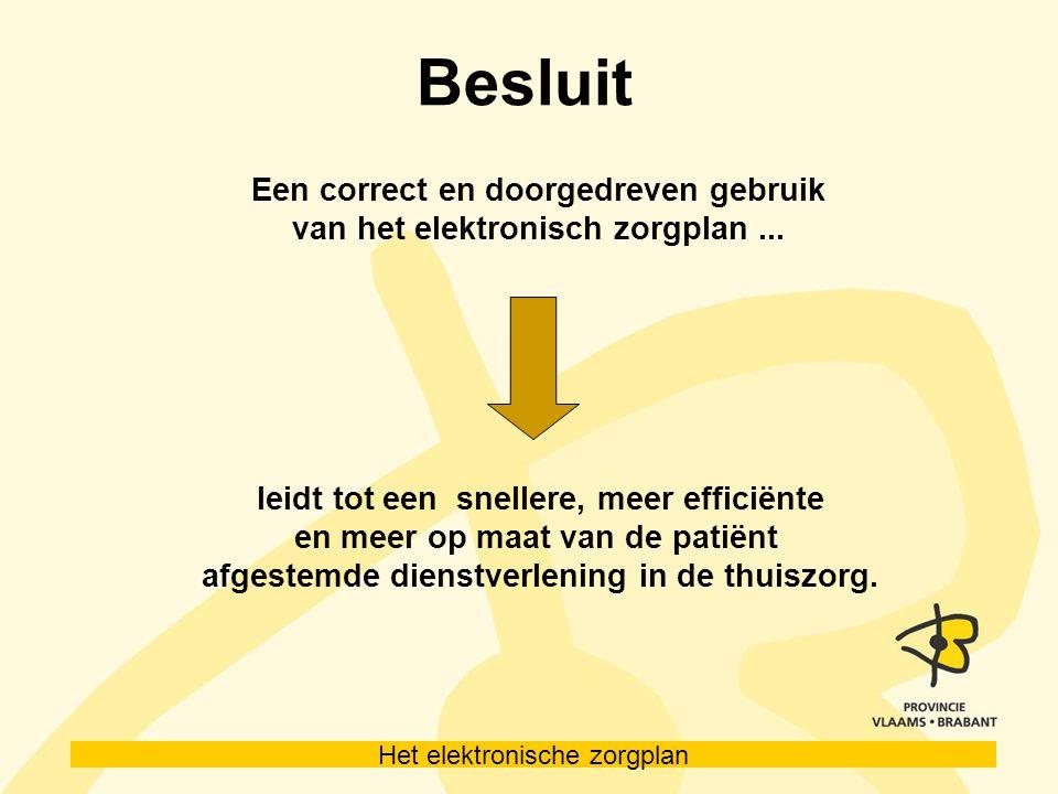 Besluit Een correct en doorgedreven gebruik van het elektronisch zorgplan...