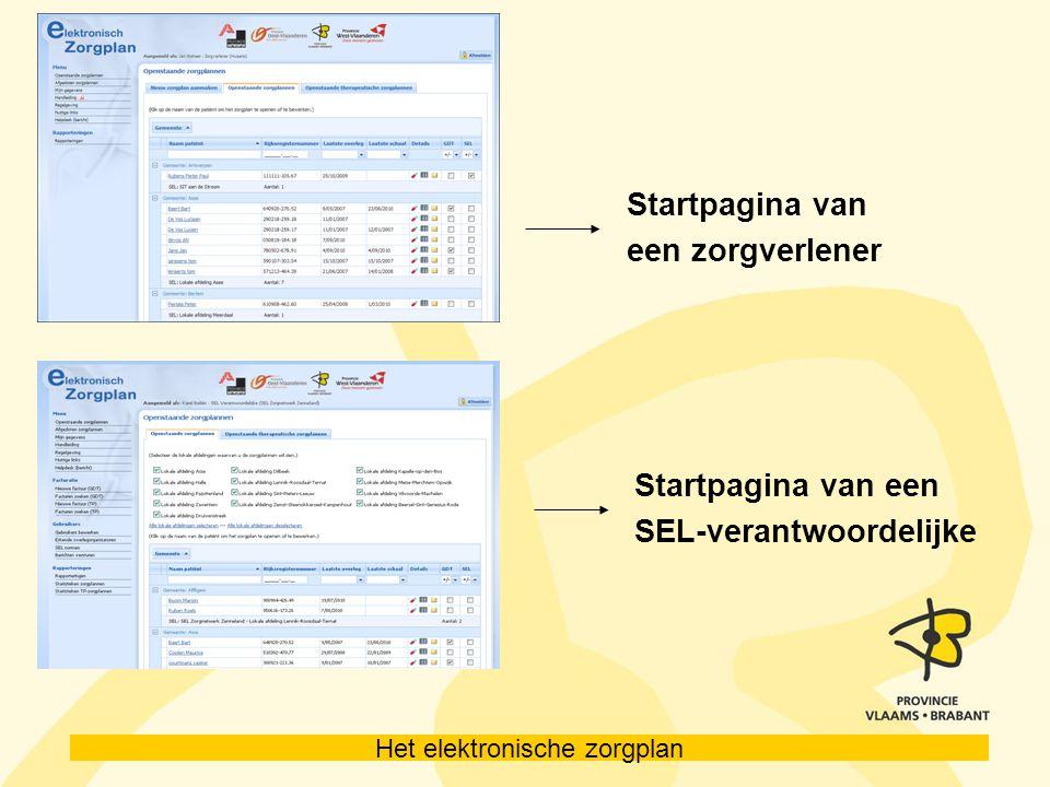 Het elektronische zorgplan Startpagina van een zorgverlener Startpagina van een SEL-verantwoordelijke