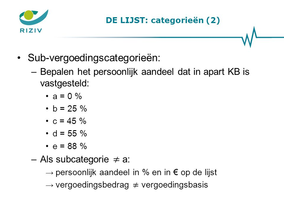 DE LIJST: categorieën (2)