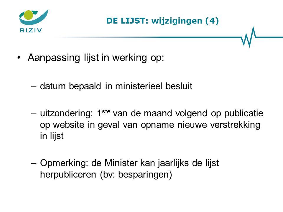 DE LIJST: wijzigingen (4) Aanpassing lijst in werking op: –datum bepaald in ministerieel besluit –uitzondering: 1 ste van de maand volgend op publicat