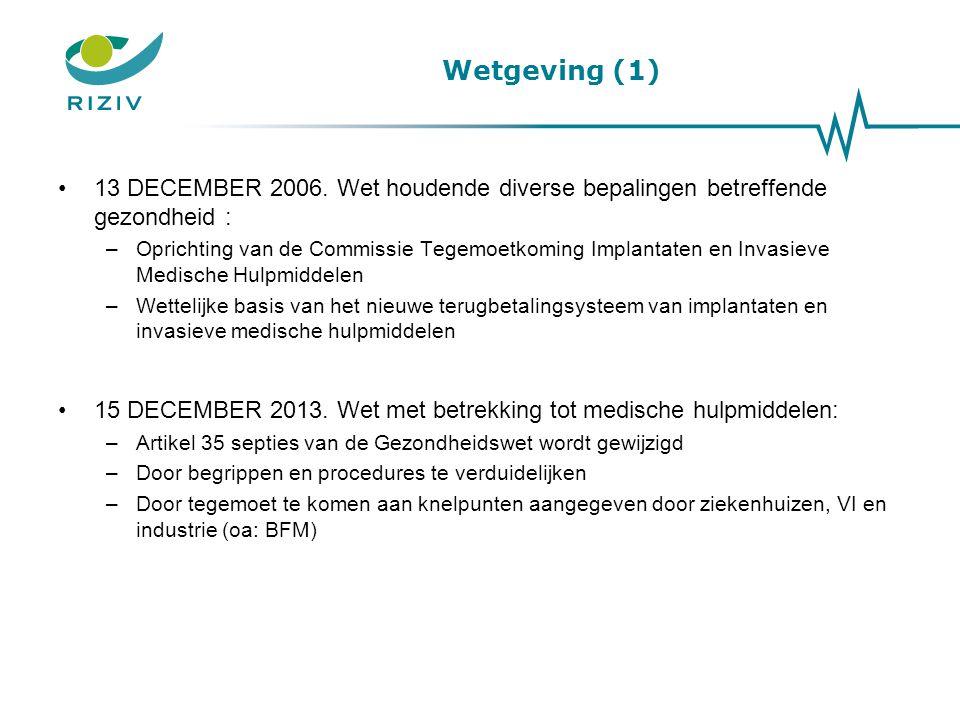 Wetgeving (1) 13 DECEMBER 2006. Wet houdende diverse bepalingen betreffende gezondheid : –Oprichting van de Commissie Tegemoetkoming Implantaten en In