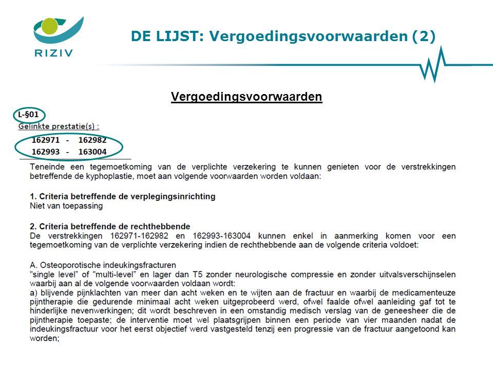 DE LIJST: Vergoedingsvoorwaarden (2) Vergoedingsvoorwaarden